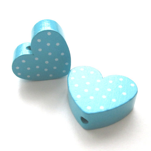 Perle en Bois Coeur à Pois Turquoise
