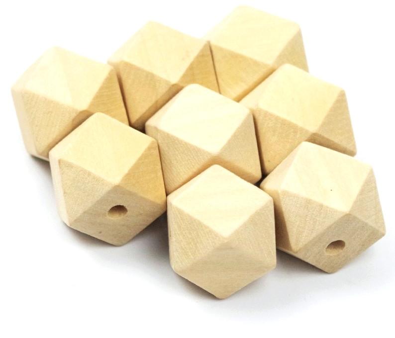 Perles hexagonales en bois brut 16mm joale