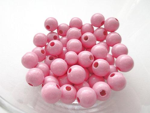 25 Perles en Bois 12mm Rose