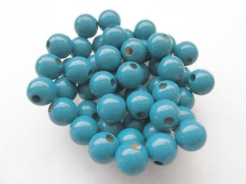 25 Perles en Bois 12mm Bleu Canard