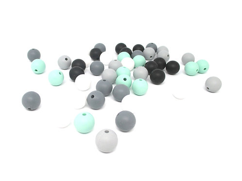 25 Perles Silicone 12mm - Rêve Mint