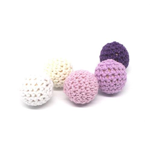 Lot de 5 Perles en Bois et Crochet 20mm Blanc Ecru Mauve Violet