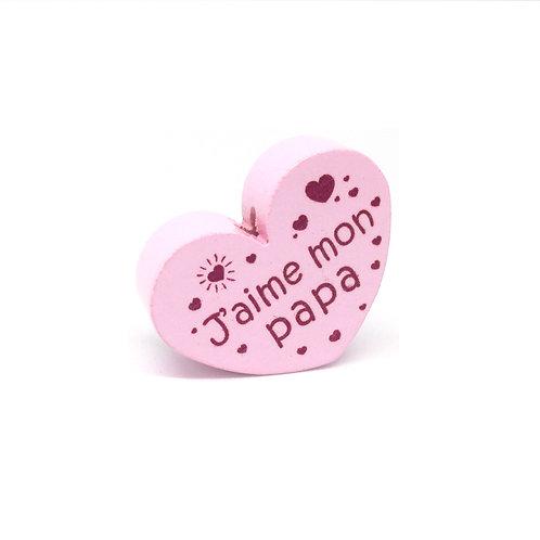 Perle en Bois Coeur J'aime mon Papa Rose Tendre