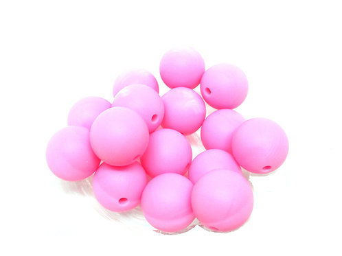 10 Perles Silicone 15mm Rose