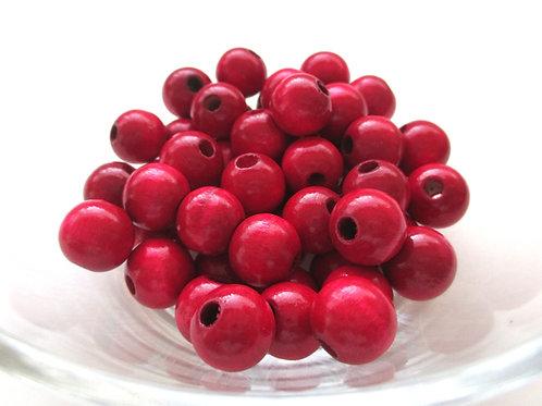 50 Perles en Bois 10mm Bordeaux