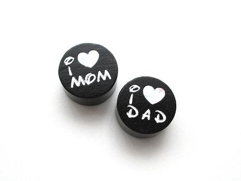 Perle en Bois I Love Mom-Dad Glitter Noir