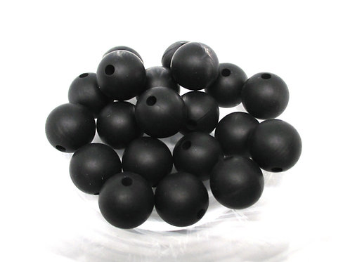 10 Perles Silicone 12mm Noir