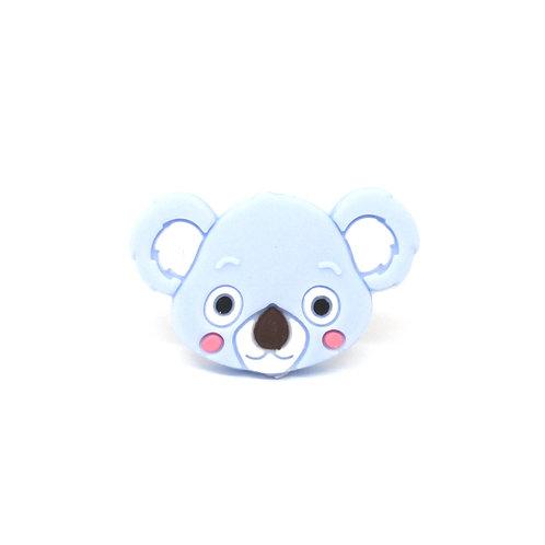 Perle Tête de Koala Silicone Bleu Tendre