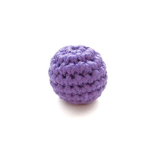 Perle en Bois et Crochet 20mm Violet