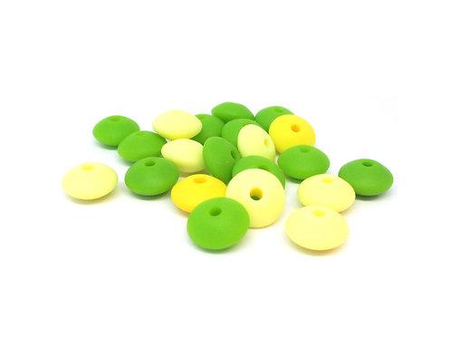 20 Perles Silicone Plates Jaune et Vert Pomme