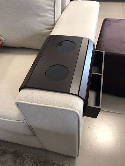 Sofa Arm Tray Table With Wooden Box