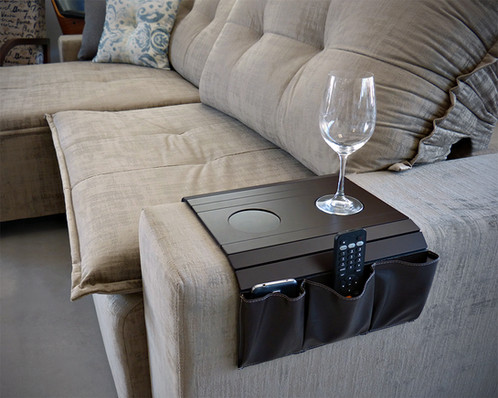 Sofa Arm Tray Table Remote Control And Cellphone Organizer Holder Leatherette
