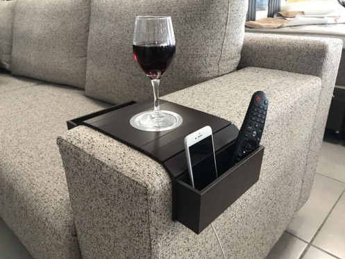 Sofa Arm Tray Table Wired Cell Phone Holder