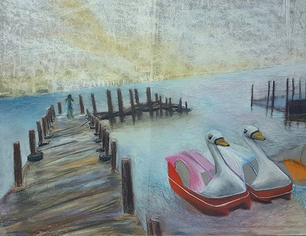 Snoozefest (2016). Chalk pastel on paper. 20x36 in.