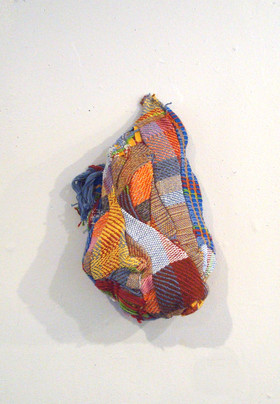 Comfort, 2015. 18 x 12 x 6 in, Hand-woven fabric