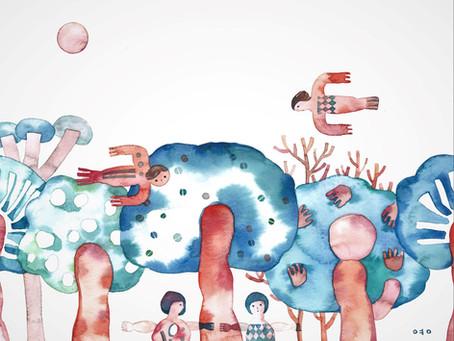 ①しんよんひ 「木々、人々」イラストレーション個展は3/13satから!
