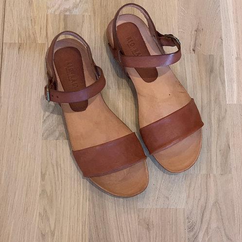 0610 Cognac leren sandaal redRag