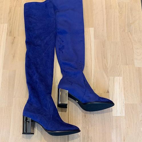 2102 Kobaltblauwe lange stretchlaars ColetteSol