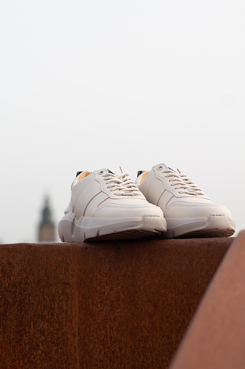 0704 Ecru leren sneaker Nubikk
