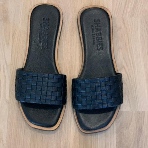 0317 Zwart leren slipper Shabbies