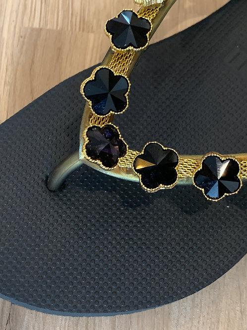 0521 Zwarte slipper Uzurii