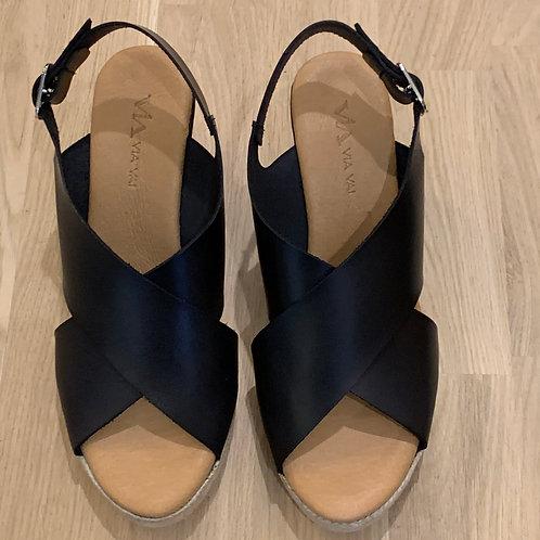 0193 Zwart leren sandaal ViaVai