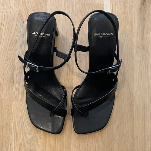 0909 Zwart leren sandaal Vagabond