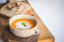 Pumpkin Soup on a Wooden Board