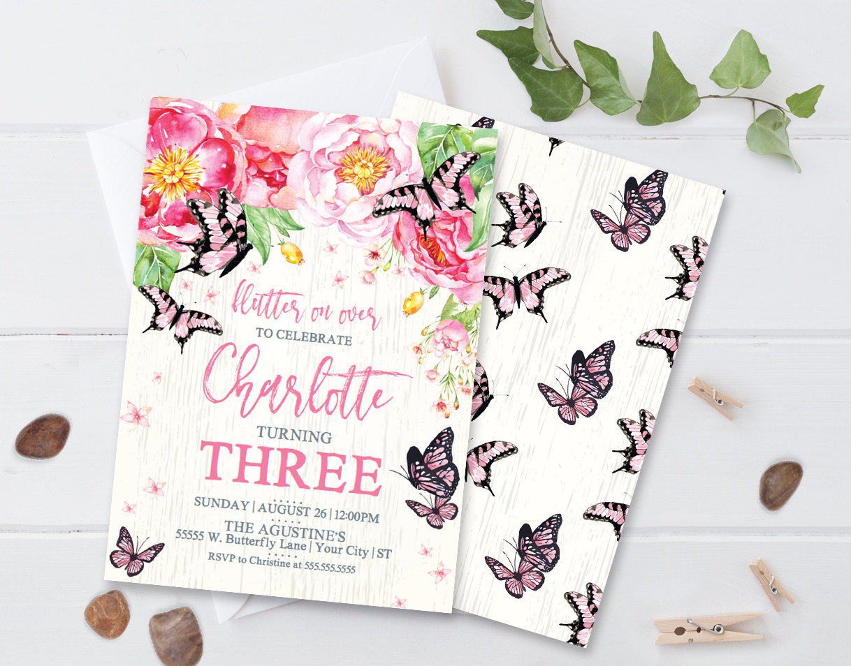 Butterfly Invitation Pink | DIY Editable Text PDF INSTANT DOWNLOAD