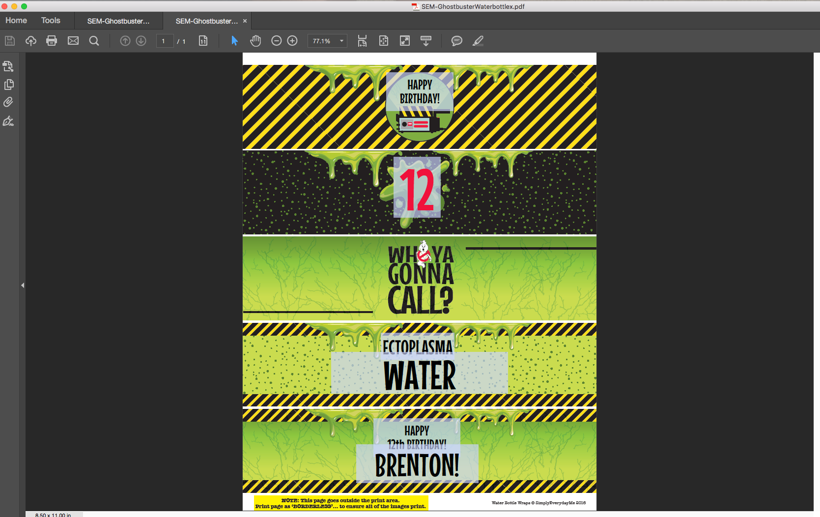 Ghostbuster Water Bottle Wrap/Labels | Editable Text PDF INSTANT DOWNLOAD