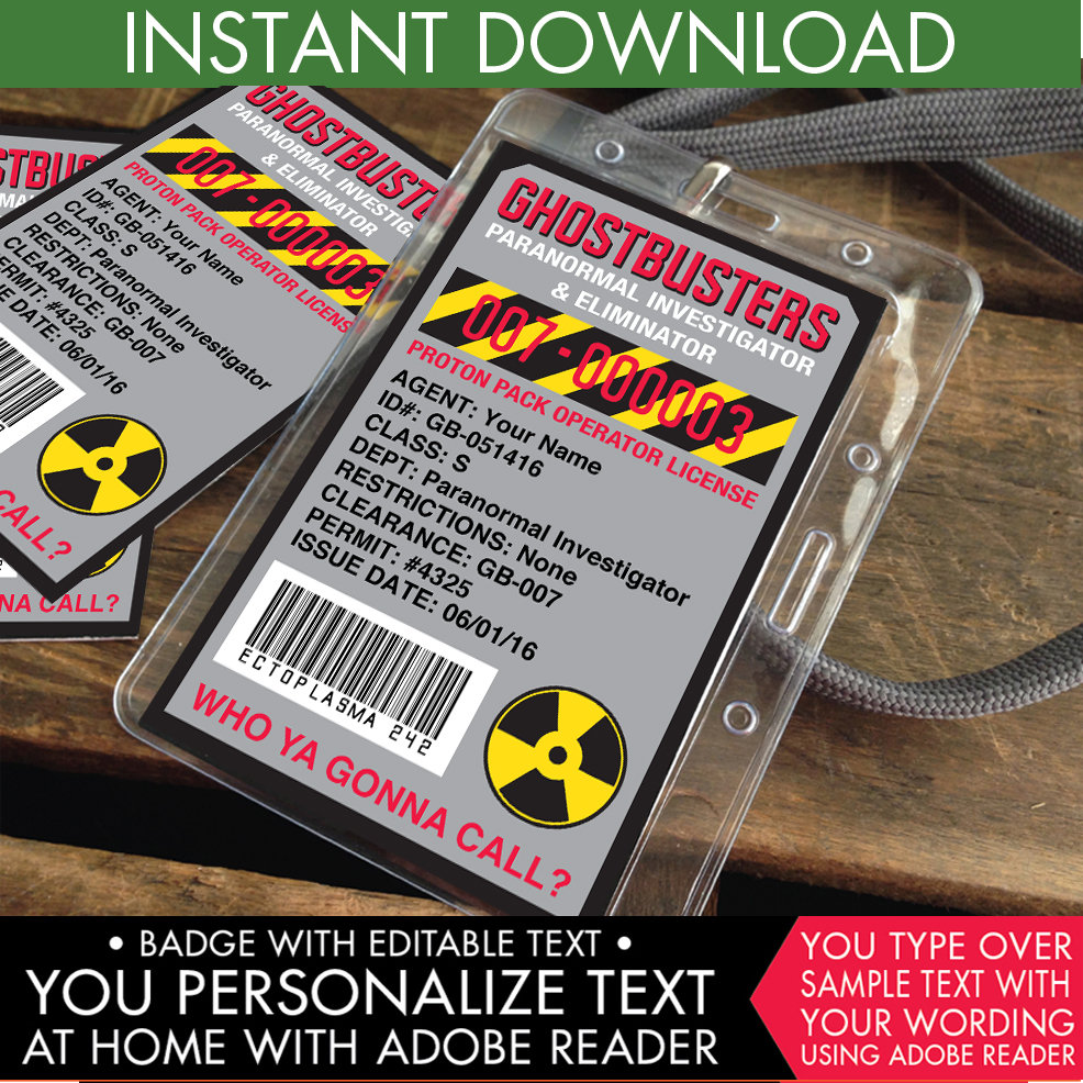 Ghostbuster ID Badges #1 | DIY Editable Text PDF INSTANT DOWNLOAD