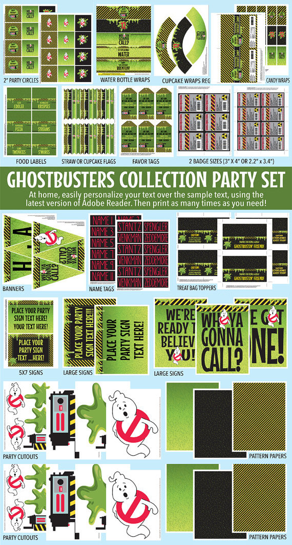Ghostbusters Party Decor Printable Set   DIY Editable Text PDF INSTANT  DOWNLOAD