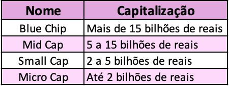 Classificação das ações por capitalização de mercado.