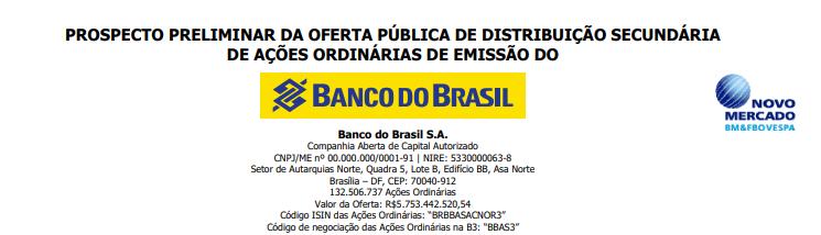 Exemplo de carta de prospecto de um Follow on do Banco do Brasil.