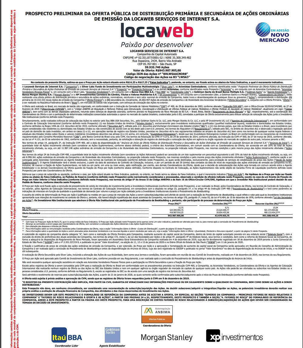 Exemplo de prospecto de um IPO, mais especificamente a abertura de capital da Locaweb.
