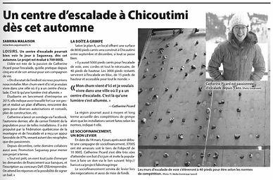 La Boîte à Grimpe, escalade Saguenay - Médias - Le Courrier du Saguenay