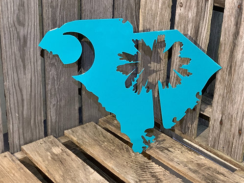 SC State with Palmetto Tree & Moon Cutout