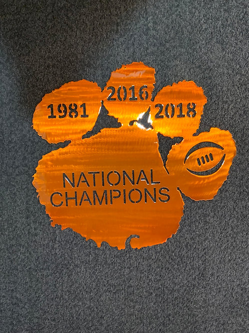National Champions 1981 - 2016 - 2018 Clemson Paw