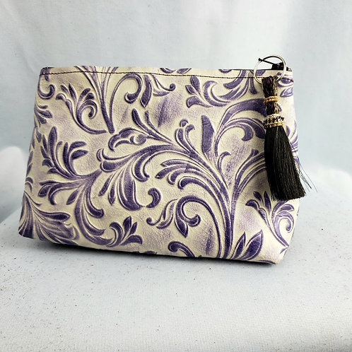 Purple Floral Freestanding Cosmetic Bag