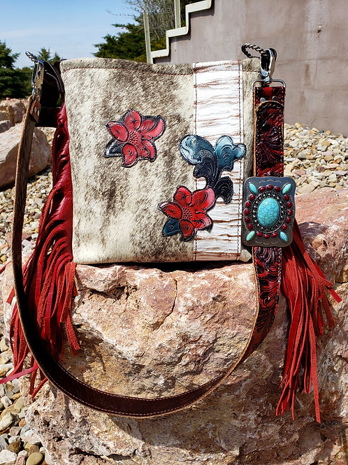 Red Floral and Cowhide Crossbody Bag