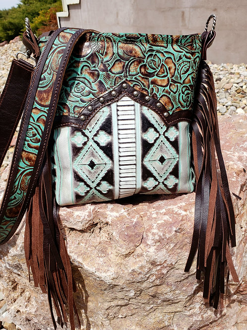 Turquoise Rose Navajo Crossbody Bag