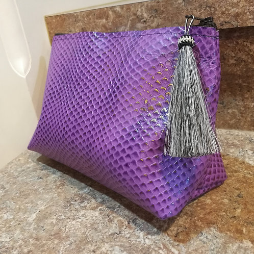 Lilac Snakeskin Cosmetic Bag