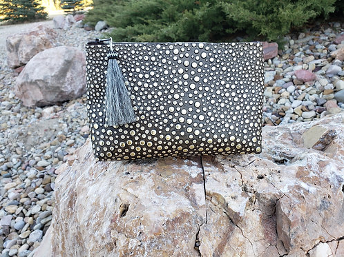Black and Gold Galaxy Freestanding Cosmetic Bag