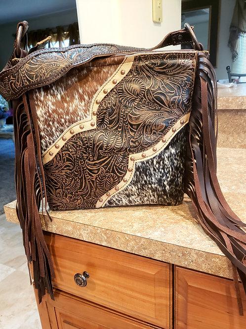 Floral and Cowhide Shoulder Bag