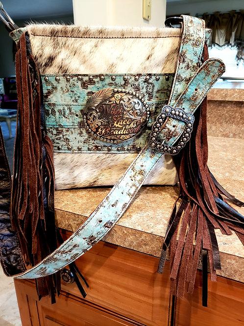 Turquoise Interchangeable trophy buckle crossbody bag