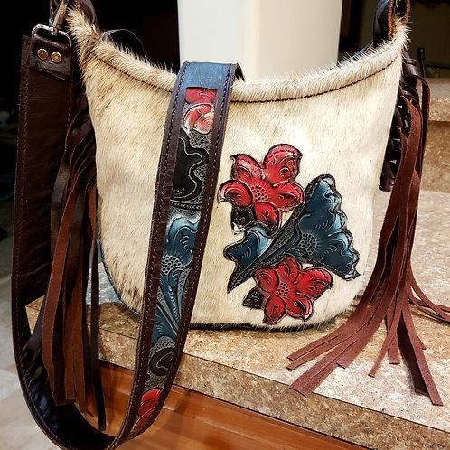 Floral and Cowhide Hobo Crossbody Bag