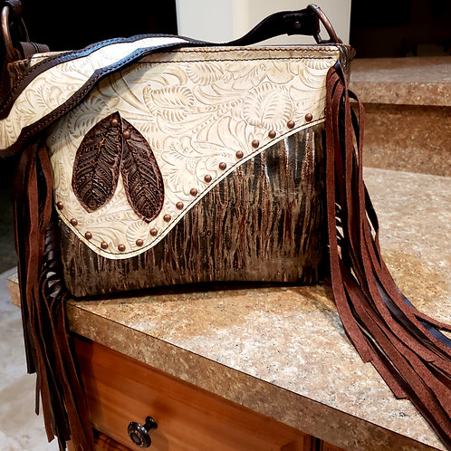 Rough and Refined Feather Shoulder Bag