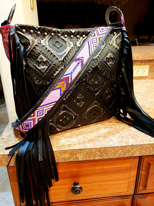Beaded Black and Pink Aztec and Arrow Shoulder Bag