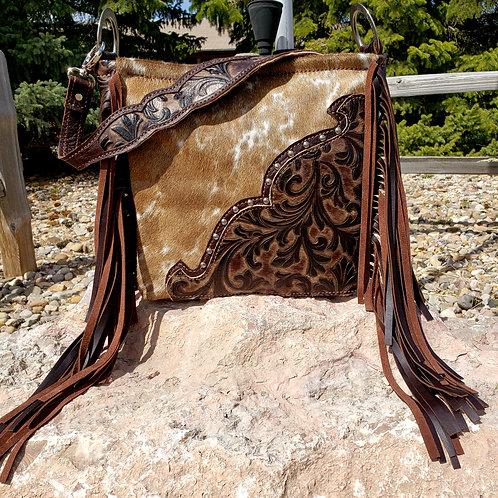 Floral Corner and  Cowhide Shoulder Bag