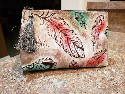 Turquoise and Red Feather Freestanding Cosmetic Bag